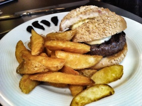 Black garlic kobe burger