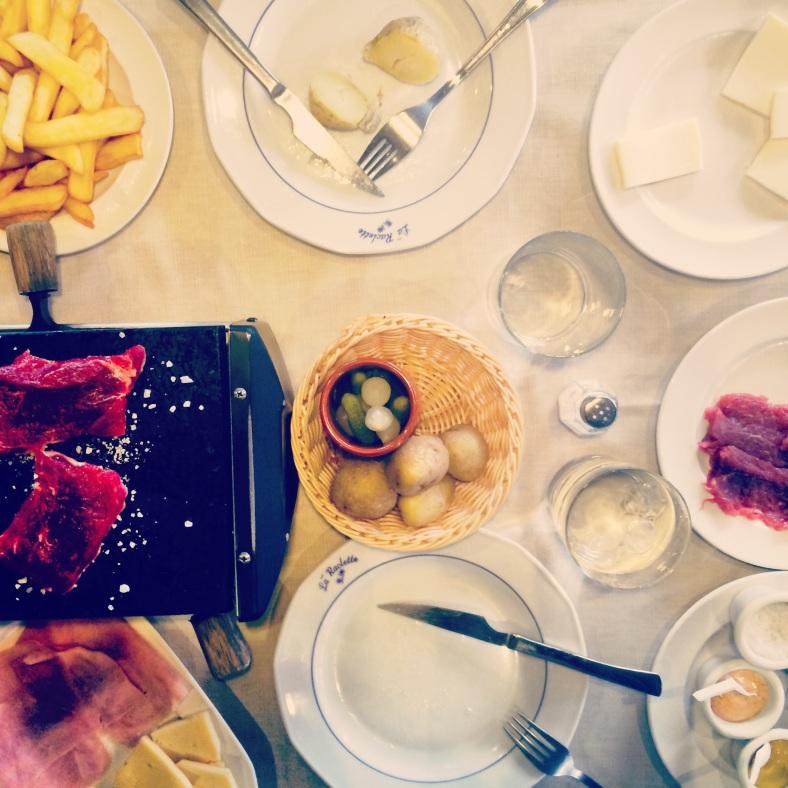Raclette de queso y de lomo de buey