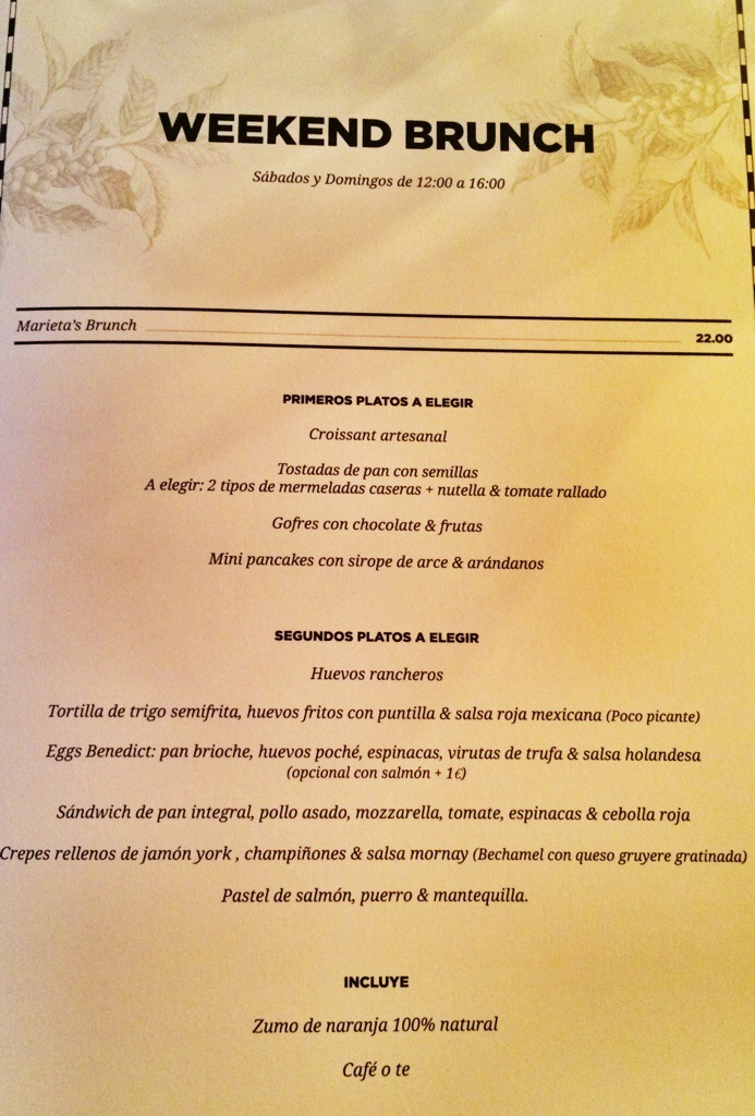 Carta del brunch