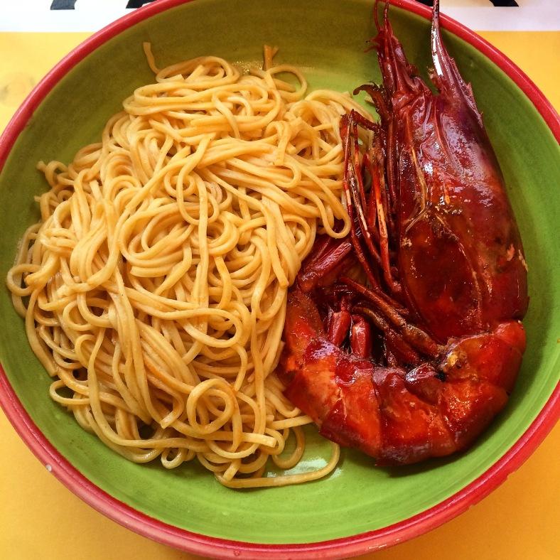Espaguetis con carabineros