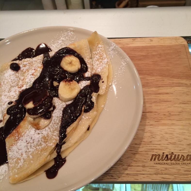 Crepe de plátano y chocolate...¡¡irresistible!!