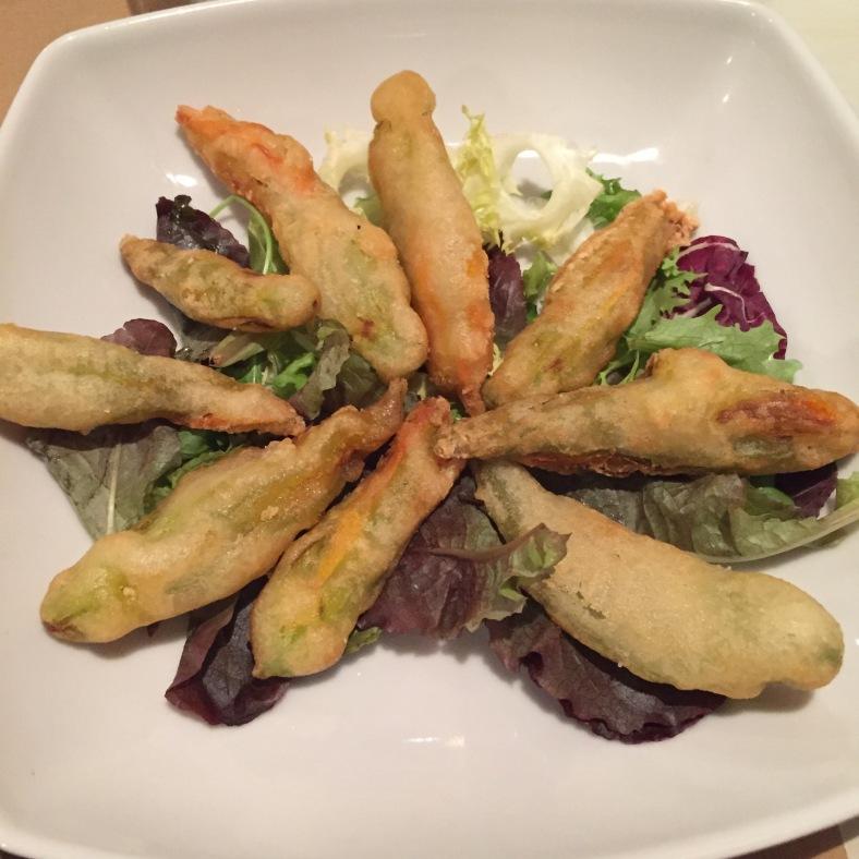 Flores de calabaza en tempura